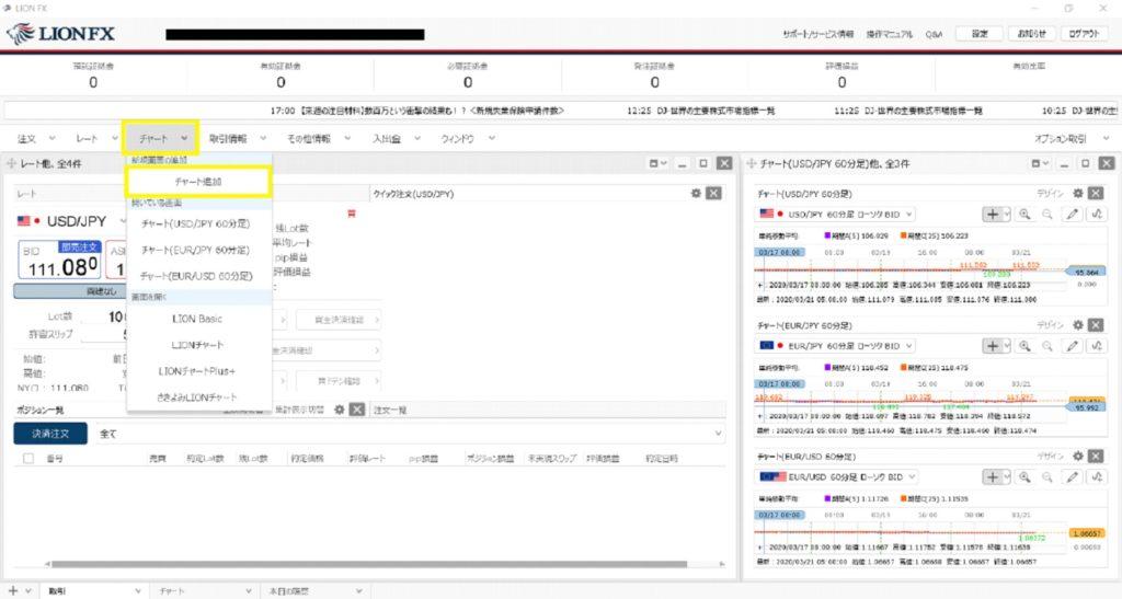 ヒロセ通商 アプリ チャート 移動平均線 表示